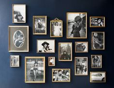 How to Open a Restaurant, According To The Duo Behind Brunette - Hall way decoration idea - Gallery Wall Frames, Frames On Wall, Gold Frame Wall, Gallery Walls, Opening A Restaurant, Navy Walls, Home Room Design, Wall Design, Design Design