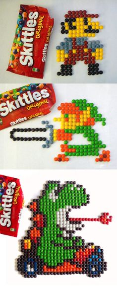 Fun and geeky 8-pit Skittle art. ---- It would break my heart to tear them apart...