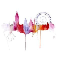 !!Water Color City...reminds me of Gatsby illustration minus the face