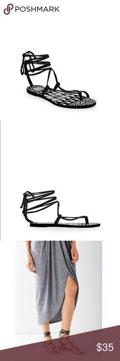 NWT Dolce Vita black sandals Brand new in box. I tried one on and didn't like how they looked. Can't return online so hopefully they can find a good home here! Listing for less than I paid. 90% textile, 10% leather, lace up. Suggested user! Top rated seller Always authentic Smoke free house No trades Posh transactions only Open to REASONABLE offers Dolce Vita Shoes Sandals
