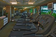 Working out at the oceanfront Stay Fit Gym at the Hyatt Regency Maui Resort and Spa. Open 24hrs a day!