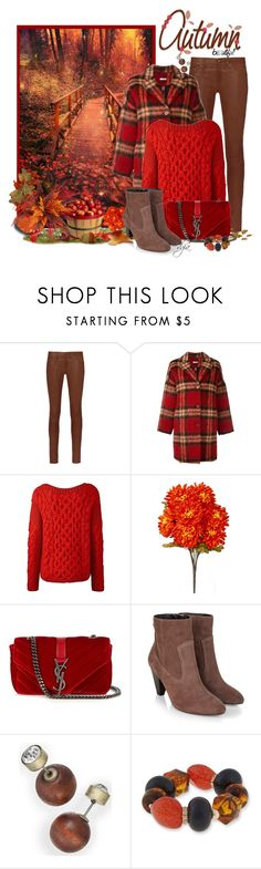 """Autumn in red and brown"" by dgia ❤ liked on Polyvore featuring rag & bone, P.A.R.O.S.H., Yves Saint Laurent, Monsoon and Erica Lyons"