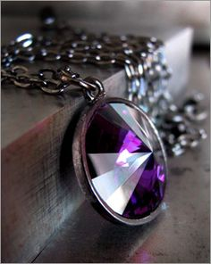 Shy Siren Amethyst Purple Vintage Crystal Necklace