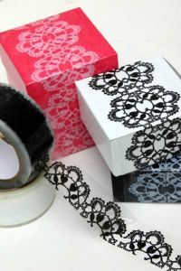 Genious! Lace tape to make a simple box or present, extra special.