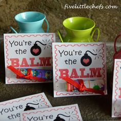 Printable Valentines Day Cards for a fun personalized gift. Supplies needed: free printable, tube of lip balm, small piece of ribbon, duct tape.