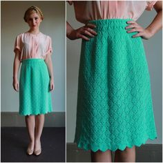 Vintage 60s Skirt  /  Pointelle Knit High Waisted 1960s Mint Green Knee Length Skirt With Scalloped Hem  /  Medium M. $30.00, via Etsy.