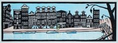 Egelantiersgracht, Amsterdam. An original handmade and handcoloured linocut print of canal houses by Catriona Black.