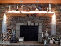 Stone fireplace lounge at The Barn at Dunvilla.