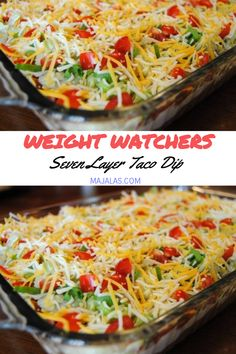 Seven Layer Taco Dip // #weightwatchers #weight_watchers #Taco #Dip #recipes #smartpoints Mexican Appetizers, Appetizer Dips, Mexican Food Recipes, Ww Recipes, Mexican Meals, Appetizer Recipes, Seven Layer Taco Dip, Seven Layer Salad, Skinny Taco Dip