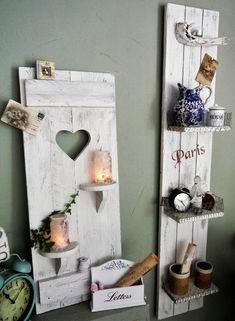 Deko-Objekte - Shabby chic Deko Fensterladen♥ Regal weiß-patina - ein Designerstück von shabby-homeHS bei DaWanda