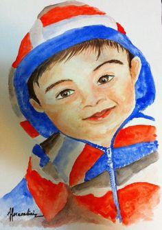 Retrato de niño...¡Adorable! | Venta de Pinturas al óleo y acuarela de Patty Fernandini