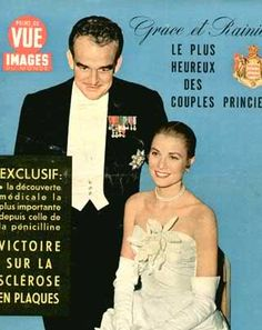 Cover photo of the Monte-Carlo Ball ( Imperial Ball ) at Waldorf Astoria. This was the night Grace and Prince Rainier celebrated their engagement. She wore a a strapless Dior creation with a corsage of orchids.