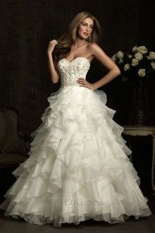 Ball Gown Strapless Sweetheart Organza Luxury Wedding Dresses