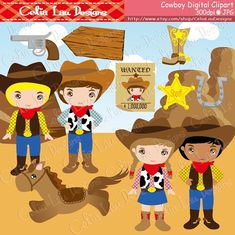 Cowboy Clip art / Cute Cowboys Clipart and by CeliaLauDesigns, $5.00