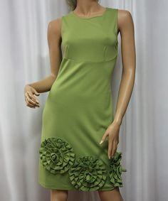 Green Rosette-Hem Dress
