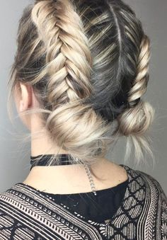 39 Trendy + Messy & Chic Braided Hairstyles – Braid buns #hairstyle #braids #hairstyles