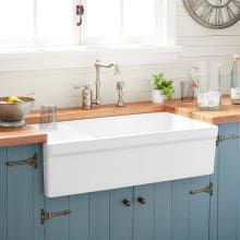 Buy the Signature Hardware 320014 White Direct. Shop for the Signature Hardware 320014 White Gallo Farmhouse Single Basin Fireclay Kitchen Sink and save. White Farmhouse Sink, Fireclay Farmhouse Sink, Farmhouse Sink Kitchen, Rustic Kitchen, Kitchen And Bath, New Kitchen, Kitchen White, Kitchen Ideas, Kitchen Cabinets