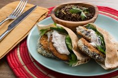 Recipe: Crispy Eggplant Pitas with Beluga Lentil Salad & Spiced Yogurt - Blue Apron