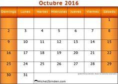 calendario octubre 2016 para imprimir gratis Dinámica domingo