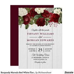 Burgundy Marsala Red White Floral Wedding Invite
