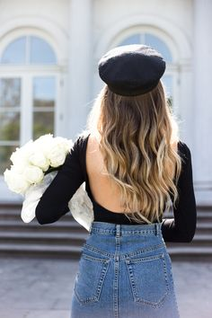 Open Back Top, Baker Boy Cap, Fiddler Cap, Denim Skirt, White Roses, Long Hair, Beach Waves, Outfit, Livia Auer, http://rstyle.me/iA-n/cmzmurbcwkx_