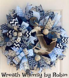 Deco Mesh Nautical Anchor Wreath in Navy Blue & Light Blue, Beach Wreath, Summer Wreath, Boating Wreath, Nautical Decor, Front Door Wreath by WreathWhimsybyRobin on Etsy