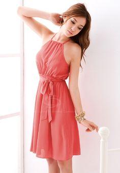 Women's Chiffon Dress (WATERMELON RED,ONE SIZE) | Sammydress.com