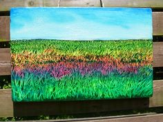 Field of Dreams. Small painting. Oil pastels and acrylic on board.
