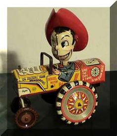 Vintage wind-up tin toy, known as the Milton Berle Crazy Car, featuring slogans from Berle's television show as well as a figure in his likeness wearing a plastic cowboy hat. Vintage Tins, Vintage Love, Vintage Dolls, Vintage Antiques, Vintage Modern, Metal Toys, Tin Toys, Children's Toys, Antique Toys