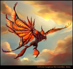 Creature Drawing Gorgeous sky guardian by benu-h - Alien Concept Art, Creature Concept Art, Creature Design, Alien Creatures, Magical Creatures, Creature Drawings, Animal Drawings, Fantasy Beasts, Fantasy Art
