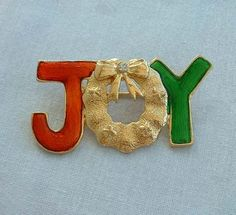 JOY Holiday Pin Red Gold Green Enamel Rhinestone Vintage Christmas Jewelry