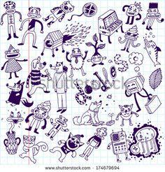 Crazy doodle animals. School notebook. Vector illustration. - stock vector