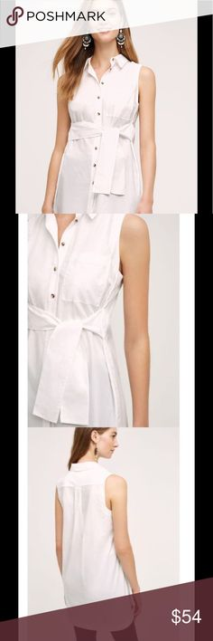"NWT MAEVE Sz 2 Paseo Tunic Top Sleeveless White *NO Trades Please* NWT!!  ""Paseo Tunic"" Top ~ Solid White ~ Collared ~ Sleeveless ~ Buttons all the way down the Front ~ Tie on the Front of the Waist... This is Attached to the Sides of the Waist ~ One Exterior Pocket on the Chest ~ Longer Style... GREAT with Leggings or Skinny Jeans ~ Rounded Bottom Edge   Fabric: Crisp Woven 100% Cotton  Measurements:  Bust (at armpits): 19"" Shoulder to Hem:  31"" Anthropologie Tops Tunics"