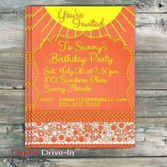 Birthday Party Invitation Sun Sunshine Yellow  by DigitalDriveIn, $15.00
