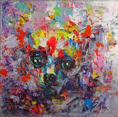 """Peinture du peintre Vietnamien SANG    Retrouvez la collection de peinture unique """"chien"""" en exclusivité chez Lyvan déco à Liège, boutique de décoration www.lyvandeco.be    Reproduction photo by photographe Eric Bomal - www.Studiomaybe.be"""