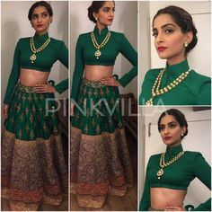 Bollywood's gorgeous ladies have been flocking to events and marriages, dressed in gorgeous lehengas. Though the lehenga is a traditional Indian atti. Lehenga Skirt, Lehenga Style, Lehnga Blouse, Lengha Choli, Bollywood Fashion, Bollywood Actress, Bollywood Style, Indian Attire, Indian Wear