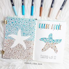 Bullet journal monthly cover page, April cover page, patterned starfish drawing. | @doublerainbows.sg