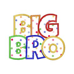 Buy 3 Get 1 Free - Embroidery Machine Design Applique Big Bro on Etsy, $3.50