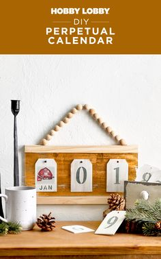 Use wood tags and twelve of your favorite photographs to create this custom DIY perpetual calendar. Hobby Lobby Crafts, Wood Tags, Diy Calendar, Perpetual Calendar, All Craft, Diy For Girls, Getting Organized, Craft Stores, Office Decor