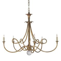 Visual Comfort SC5005HAB Studio 5 Light Large Double Twist Chandelier in Hand Rubbed Antique Brass
