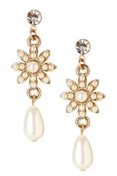 Only $14.00 50% off MSRP Today Only!  Crystal Flower Pearl Drop Earrings by Day to Night: Jewelry Event on @HauteLook