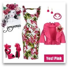 Yes Pink ! by modern-grease on Polyvore featuring modern grease.com dress by H&R london