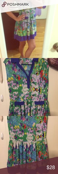 L'AMOUR FLORAL DRESS WITH COLLAR In good condition! L'AMOUR Dresses Mini