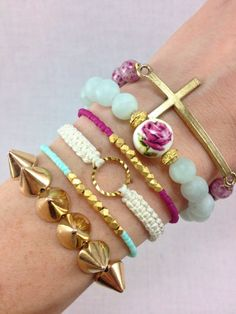 Secret Garden Stacked Floral Bracelets, #stacked, #bracelets, #armcandy, #jewelry, #floral, #cross, #rose