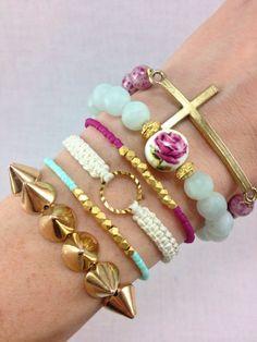 Secret Garden Stacked Floral Bracelets, #stacked, #bracelets, #armcandy, #jewelry, #floral, #cross, #rose
