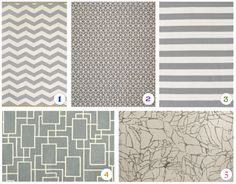 Gray and white rug options for the living room