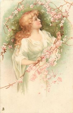 woman with golden hair, white dress, among pink blosson branches, faces right, looks up