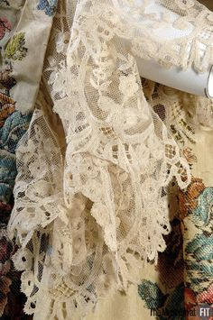 """Medium: Multicolored silk floral brocade Date: c.1735 Country: France or Italy A fashionable robe à la française might be made from yards of expensive silk brocade draped over wide hoops, trimmed with handmade lace, and elaborately accessorized. Often dismissed as wasteful, aristocratic luxury supported a host of artisans. According to the great French writer Baron de Montesquieu, there was """"an absolute necessity for luxury. Were the rich not so lavish, the poor would starve."""""""