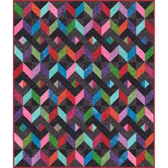 Counterpoint quilt in Batavian batiks from Hancocks Paducah Herringbone Quilt, Hancocks Of Paducah, Bright Quilts, Quilt Patterns, Quilting Ideas, Kit, Quilt Top, Square Quilt, Sewing