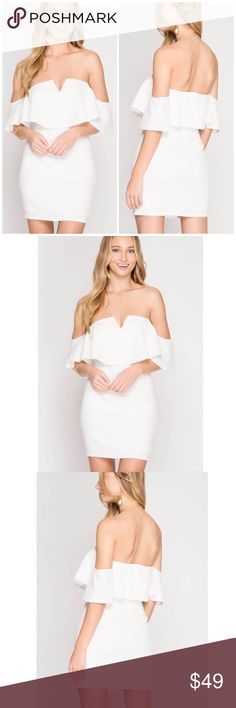 f4a8f24d084efd Textured Off Shoulder Mini Dress Short Sleeve Off Shoulder Textured Dress  With Deep V-Neck